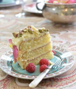 WHITE CHOCOLATE, CARDAMOM AND PISTACHIO CAKE