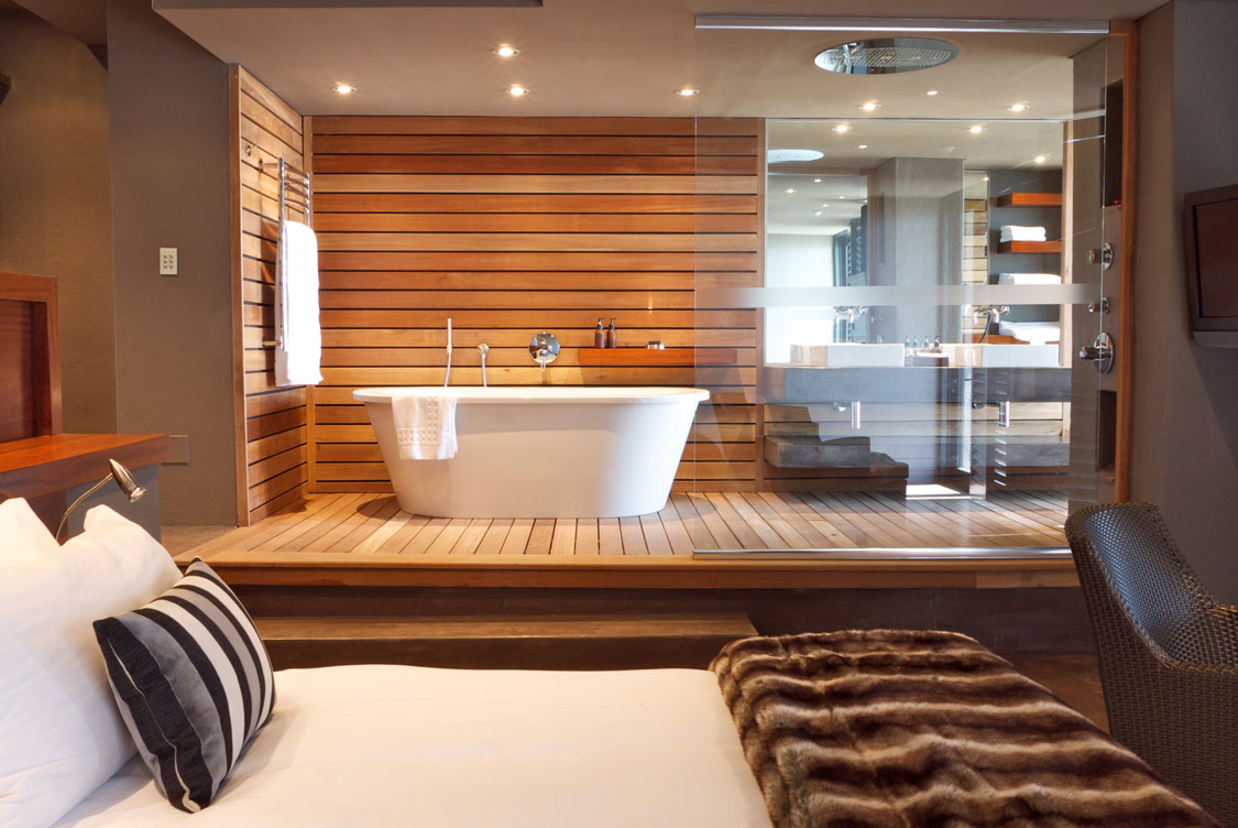 Modern bathroom design open plan suite sa garden and home for Small bedroom with bathroom design