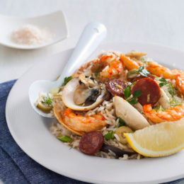 EASY CLAM, PRAWN AND CHORIZO RICE