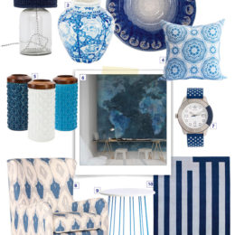 Blue and white shopping