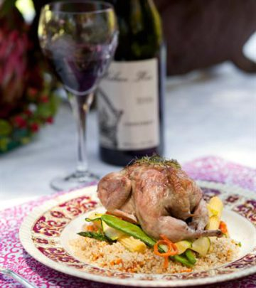 QUAILS WITH MUSHROOM STUFFING AND RED WINE SAUCE