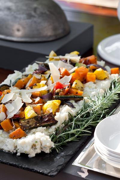 SAGE AND ONION PAP WITH OVEN-ROASTED VEGETABLES