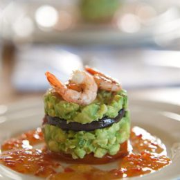 TIAN OF AVOCADO, AUBERGINE, PRAWNS, SWEET CHILLI SAUCE