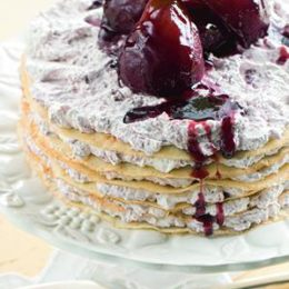 PANCAKE STACK WITH PEARS IN RED WINE
