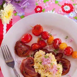 BUTTERY EGGS WITH PANCETTA AND ROASTED CHERRY TOMATOES