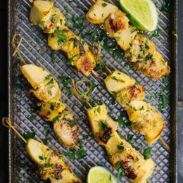 APPLE & PORK KEBABS WITH SCENTED INDIAN SPICES