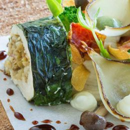 ROAST CHICKEN WITH MUSHROOM PUREE, PEARL ONIONS AND MOROGO
