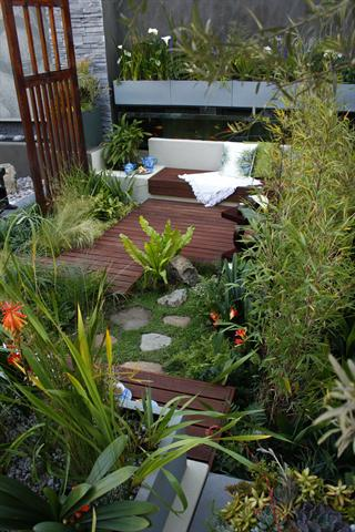 Garden with ornamental grasses