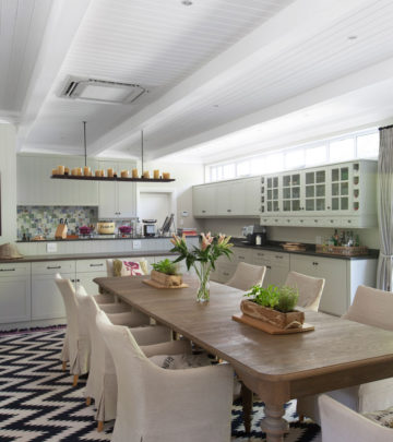 furnished kitchen with island