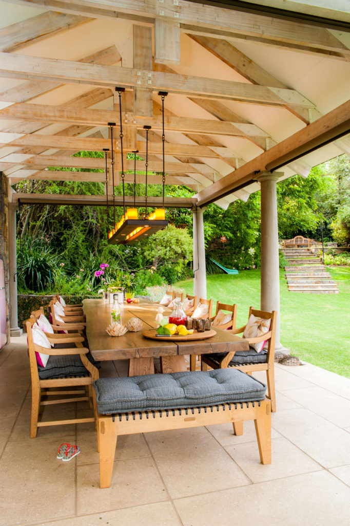 Outdoor dining area - poolhouse - SA Garden and Home