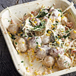 HORSERADISH MAYONNAISE POTATO SALAD WITH LEEKS AND CORN