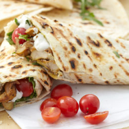 CURRIED CHICKEN AND TZATZIKI WRAPS