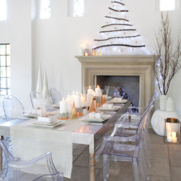 A festive table setting with clean, simple lines