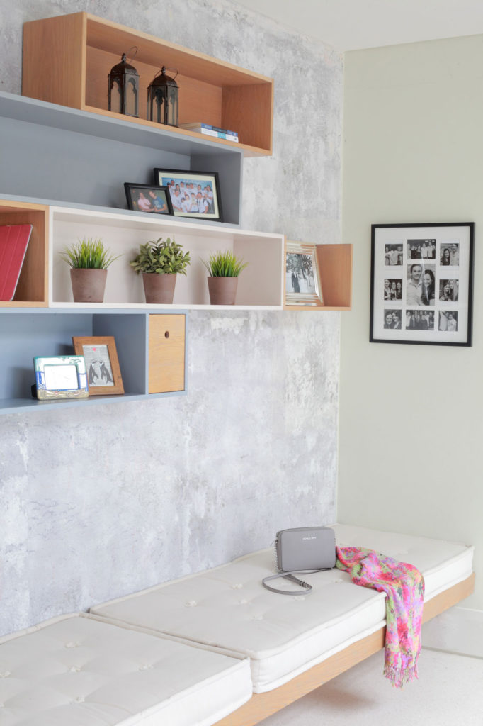 Painted in different colours with timber accents, these wall-mounted units become a focal point and are ideal for displaying ornaments and pictures.