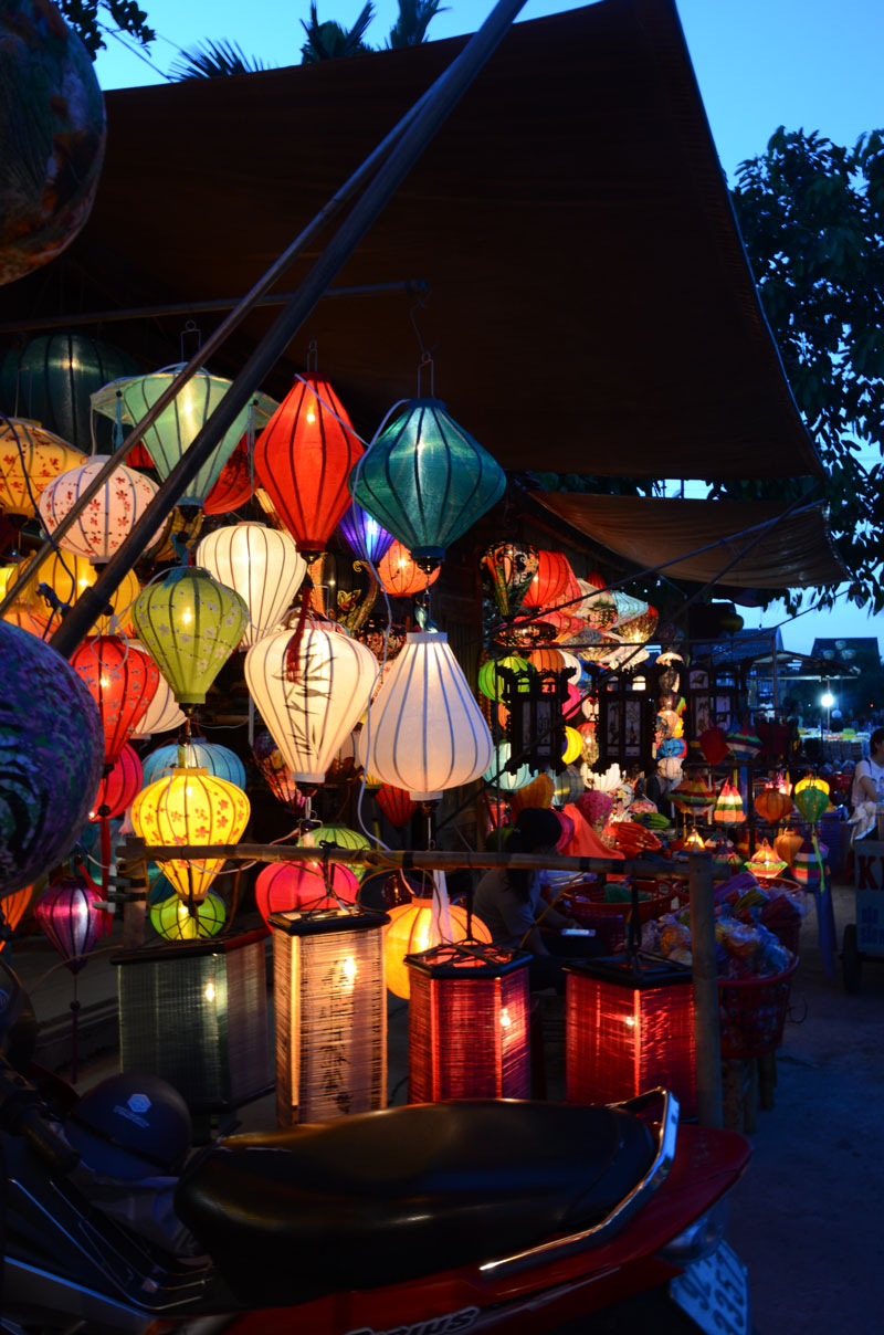 In Hoi An, handmade paper lanterns light up the night markets.