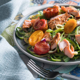 SEARED SALMON WITH ZOODLES