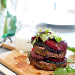 BEEF FILLET STEAK WITH BEETROOT AND GOAT'S CHEESE DRESSING