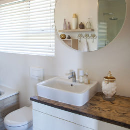 A contemporary small bathroom