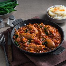Sausage and lentil casserole
