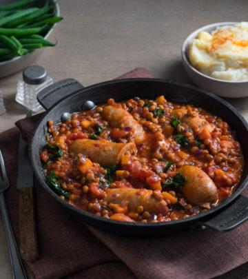 Sausage-and-lentil-casserole
