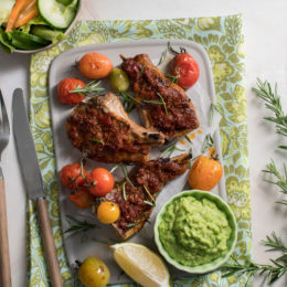 Grilled lamb cutlets with minty pea purée