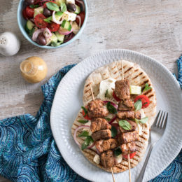 Pork souvlakia with Greek salad