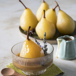 CHAI-SPICED POACHED PEARS WITH BUTTERSCOTCH COFFEE SAUCE
