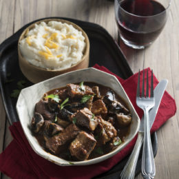 BRAISED BEEF WITH ALE AND MUSHROOMS