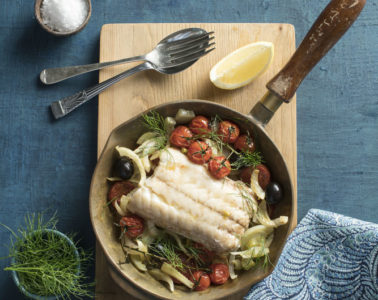 SEARED KINGKLIP WITH WHITE WINE, FENNEL AND TOMATOES