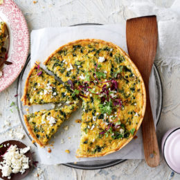 spinach and sweetcorn tart -- garden and home