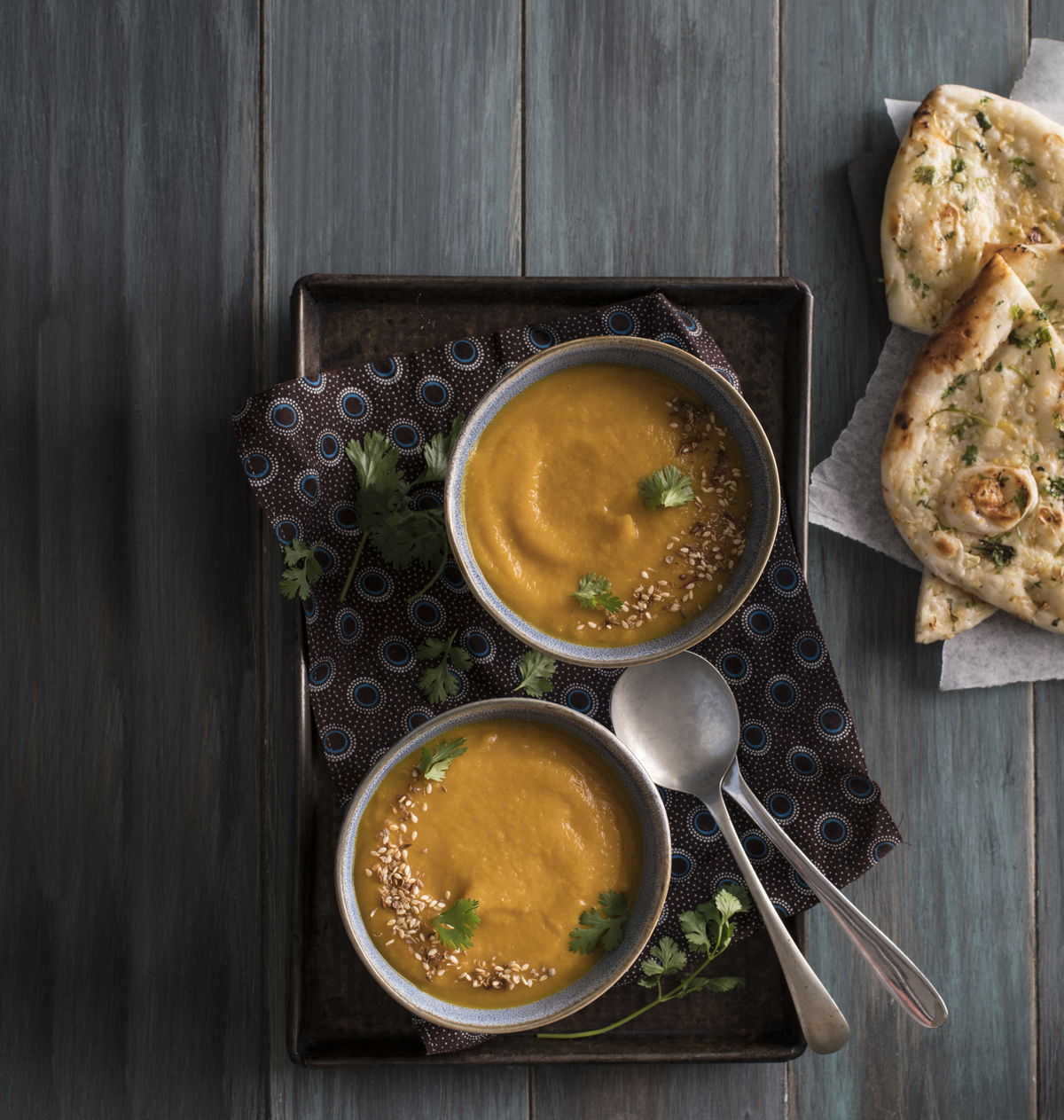 curried butternut and lentil soup with garlic naan - SA Garden and Home