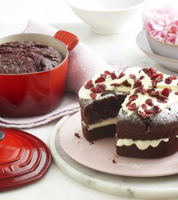 Red velvet chocolate cake - recipe from Le Creuset